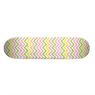 Fun Lime Green Pink Yellow and White Chevrons Skateboard Deck