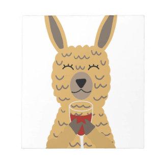 Fun Llama Drinking Red Wine Notepad