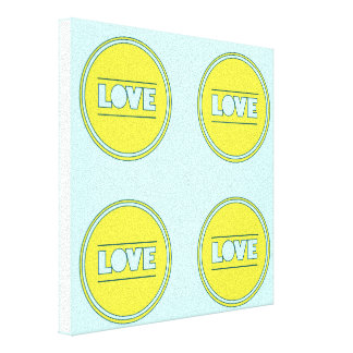 Fun Love collage yellow turquoise by healinglove Gallery Wrapped Canvas