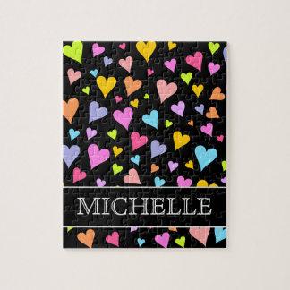 Fun, Loving, Colorful Hearts Pattern + Custom Name Jigsaw Puzzle