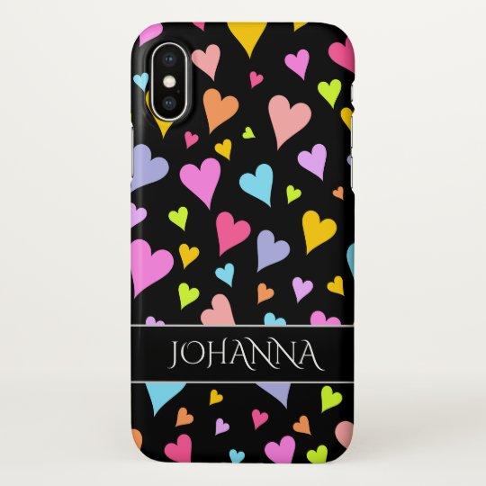 Fun, Loving, Colourful Hearts Pattern + Custom iPhone X Case