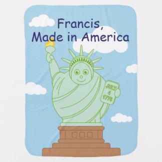 "Fun ""Made in America"" cartoon ""Statue of Liberty"", Baby Blanket"