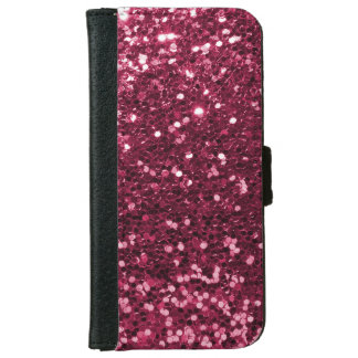 Fun Magenta Pink Faux Glitter Sparkle Print iPhone 6 Wallet Case