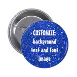 FUN! MAKE YOUR OWN BLUE GLITTER PIN! ** 6 CM ROUND BADGE