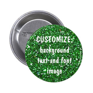 FUN! MAKE YOUR OWN GREEN GLITTER PIN! 6 CM ROUND BADGE