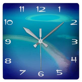 Fun Maldives Islands Blue Ocean White Sand Beach Square Wall Clock