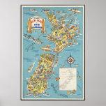 Fun map of New Zealand Print