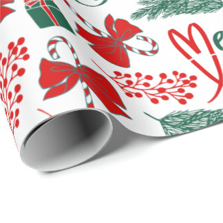 Fun Merry Christmas Candy Canes Wrapping Paper
