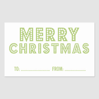 FUN MERRY CHRISTMAS HOLIDAY GIFT LABEL GREEN RECTANGULAR STICKER