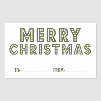 FUN, MERRY CHRISTMAS HOLIDAY GIFT LABEL | GREEN RECTANGULAR STICKERS