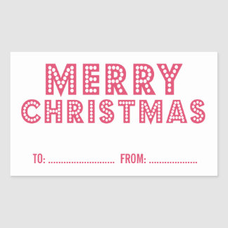 FUN, MERRY CHRISTMAS HOLIDAY GIFT LABEL | PINK RECTANGULAR STICKERS