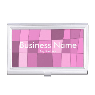 Fun Mirror Checks in Pink Business Card Holders