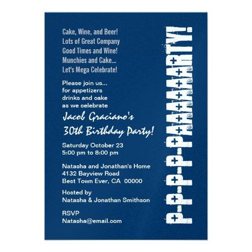 Fun Modern 30th Birthday Navy Blue White Invitations