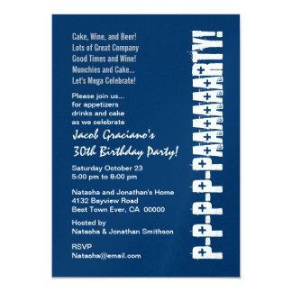 "Fun Modern 30th Birthday Navy Blue White 5"" X 7"" Invitation Card"