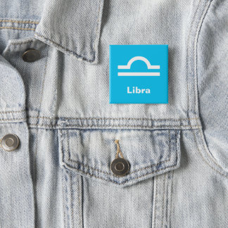 Fun Modern Astrology Libra Star Sign on Aqua Blue 15 Cm Square Badge