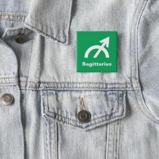 Fun Modern Astrology Sagittarius Sign on Green 15 Cm Square Badge