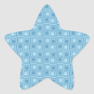 Fun Modern Blue Squares Pattern Gifts Star Sticker