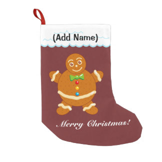 Fun modern cartoon of a Gingerbread man cookie, Small Christmas Stocking