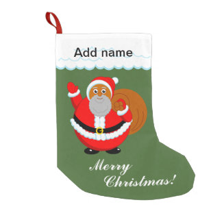 Fun modern cartoon of a jolly Black Santa Claus, Small Christmas Stocking