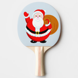 Fun modern cartoon of a jolly Santa Claus, Ping Pong Paddle