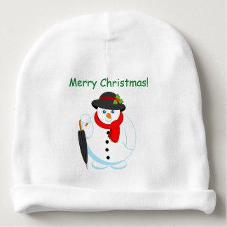 Fun modern cartoon of elegant Christmas Snowman, Baby Beanie