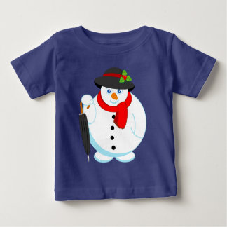Fun modern cartoon of elegant Christmas Snowman, Baby T-Shirt