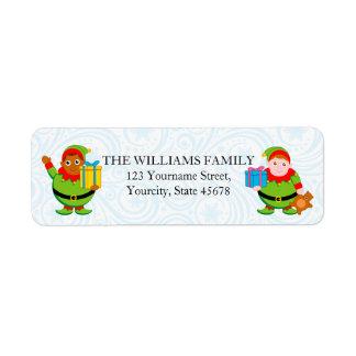 Fun modern cartoon of Santa's Christmas elves, Return Address Label
