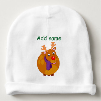 Fun modern cartoon of Santa's reindeer, Rudolph, Baby Beanie