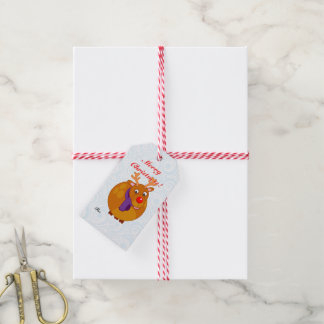 Fun modern cartoon of Santa's reindeer, Rudolph, Gift Tags