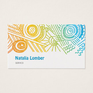 Fun Modern Colorful Doodle Profile Template Business Card