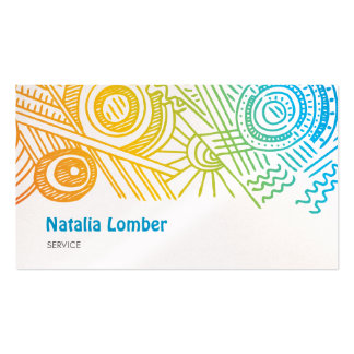 Fun Modern Colorful Doodle Profile Template Pack Of Standard Business Cards
