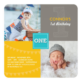 Fun Modern Squares ONE Photo Baby Boy 1st Birthday 13 Cm X 13 Cm Square Invitation Card