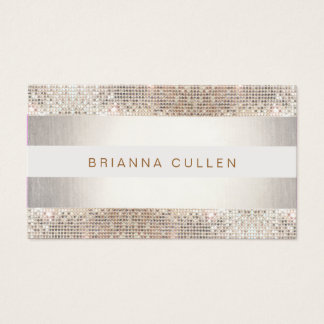 Fun Modern Stripes, Silver Sequin Business Card
