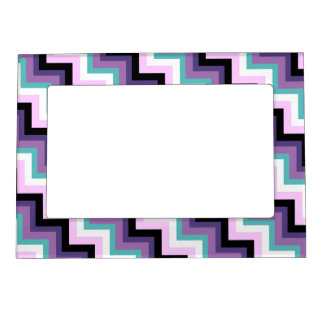 Fun Modern Zig Zag Pink Purple Aqua Chevron Photo Frame Magnet