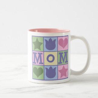 Fun Mom Quilt Squares Pink Two-Tone Mug