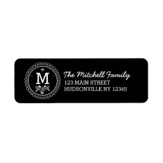 Fun Monogram Festive Black and White Holiday Return Address Label