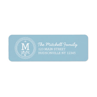 Fun Monogram Festive Blue and White Holiday Return Address Label
