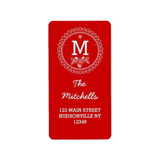Fun Monogram Festive Red & White Holiday Label