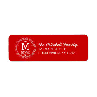 Fun Monogram Festive Red & White Holiday Return Address Label