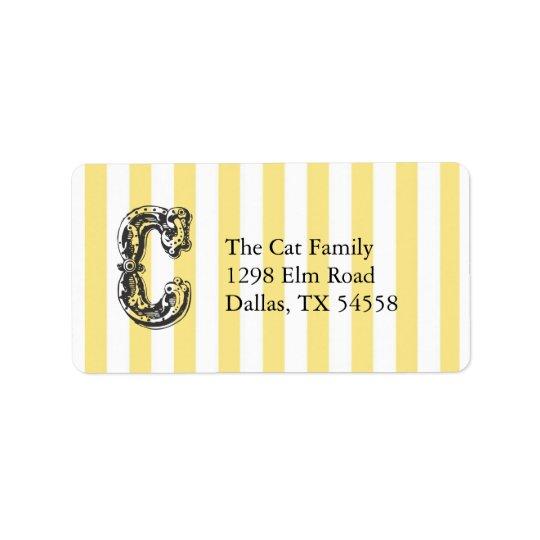 Fun Monogram Letter C on Yellow Stripe Background Address Label