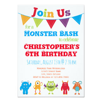 Fun Monster Kids Birthday Party Invitations