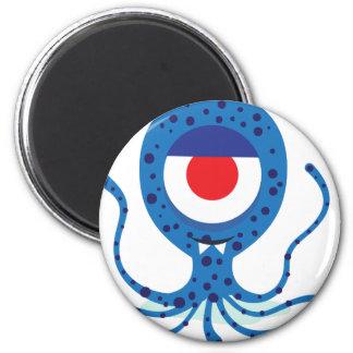 Fun Monster Squid Design 6 Cm Round Magnet