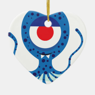 Fun Monster Squid Design Ceramic Heart Decoration
