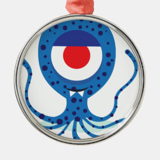 Fun Monster Squid Design Silver-Colored Round Decoration