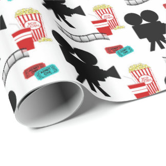 Fun Movie Lovers party tiled wrap Wrapping Paper
