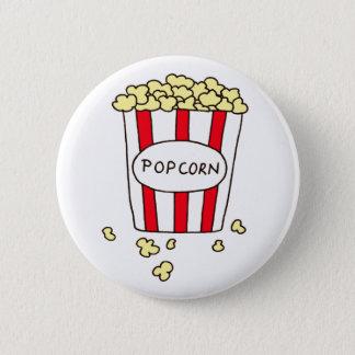 Fun Movie Theater Popcorn in Red White Bucket 6 Cm Round Badge