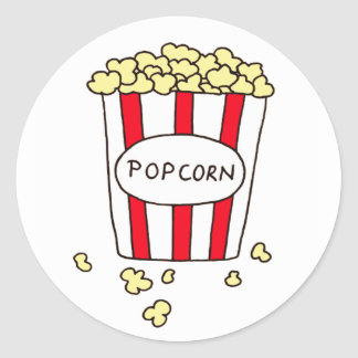 Fun Movie Theater Popcorn in Red White Bucket Classic Round Sticker