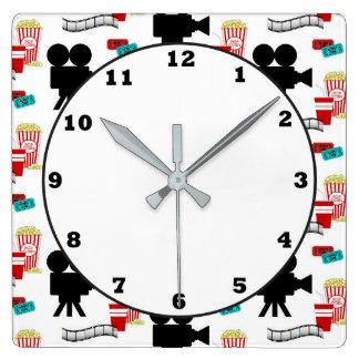 Fun Movie theater reel popcorn pattern clock