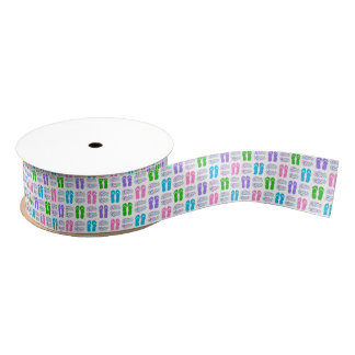 FUN! Multi-color Flip-Flops (Any Background Color) Grosgrain Ribbon