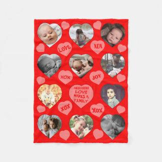 Fun multi heart shaped photo fleece blanket